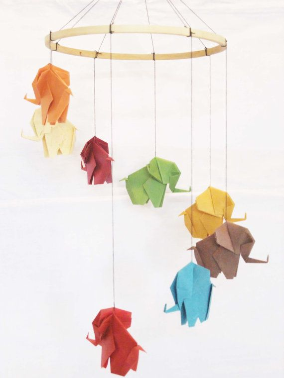 origami elephant mobile elephant mobile baby mobile home decor baby mobiles origami and. Black Bedroom Furniture Sets. Home Design Ideas