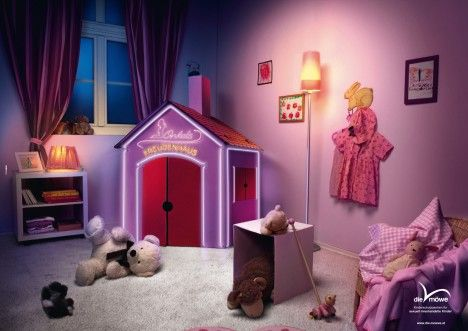 """Austrian print ad shows a girl's playhouse as her uncle's strip club/whorehouse. 2011 The advertiser, Die Möwe (""""The Gull"""") is an Austrian not-for-profit that fundraises to provide essential psychological and legal services for abused children. Advertiser: Die Möwe Agency: PKP BBDO, Vienna, Austria Source: Ads of The World"""