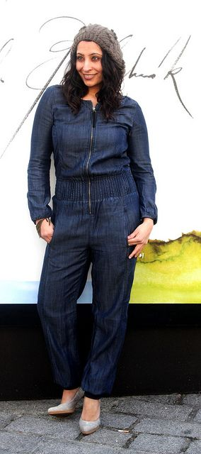 #boilersuit, #boilerjumpsuit, #overall, #denimoverall, #denimboilersuit, #beaniehat, #heels, #denimjumpsuit, #jumpsuit,