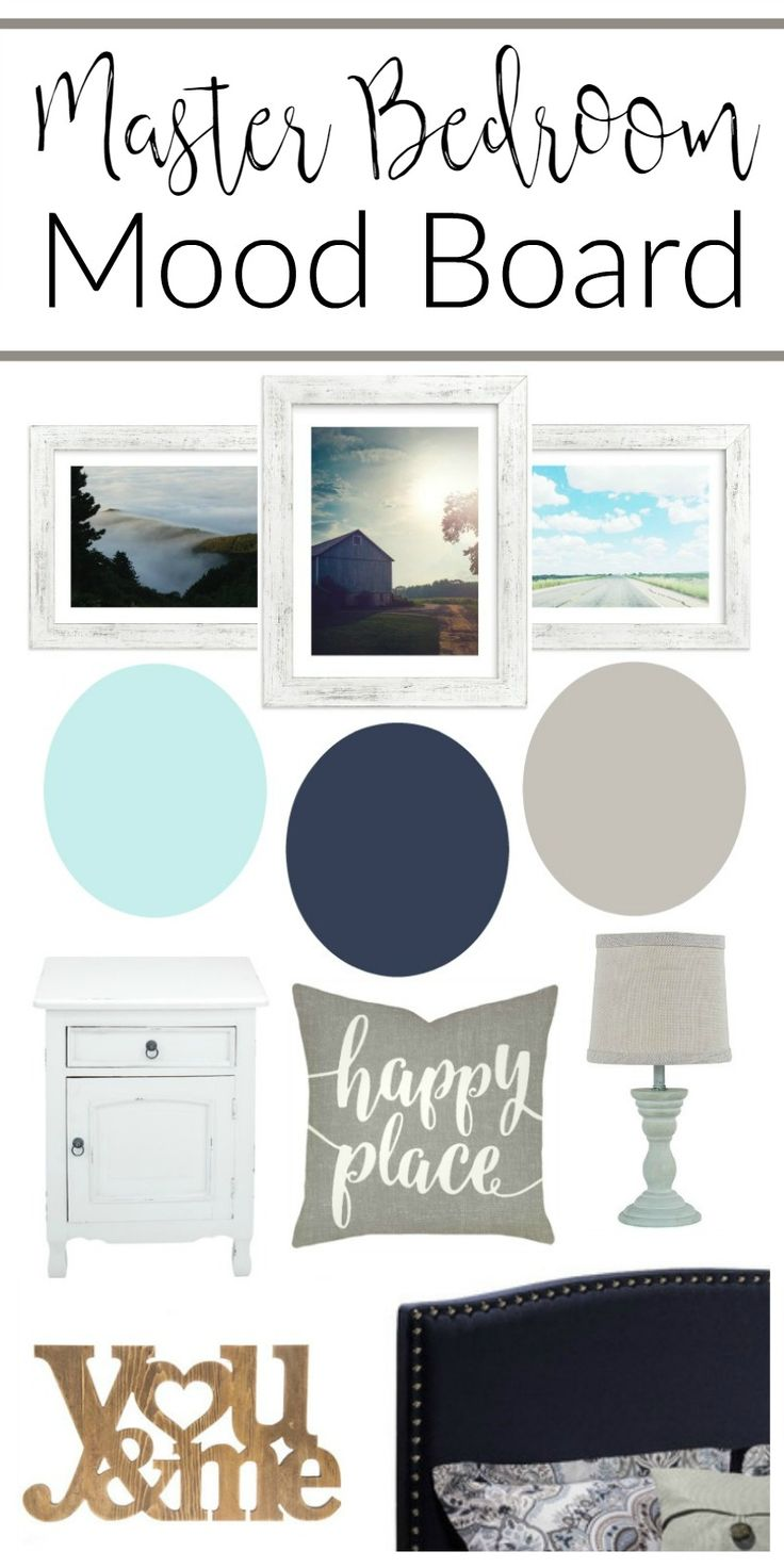 Navy gray and aqua Master Bedroom makeover plan and mood board