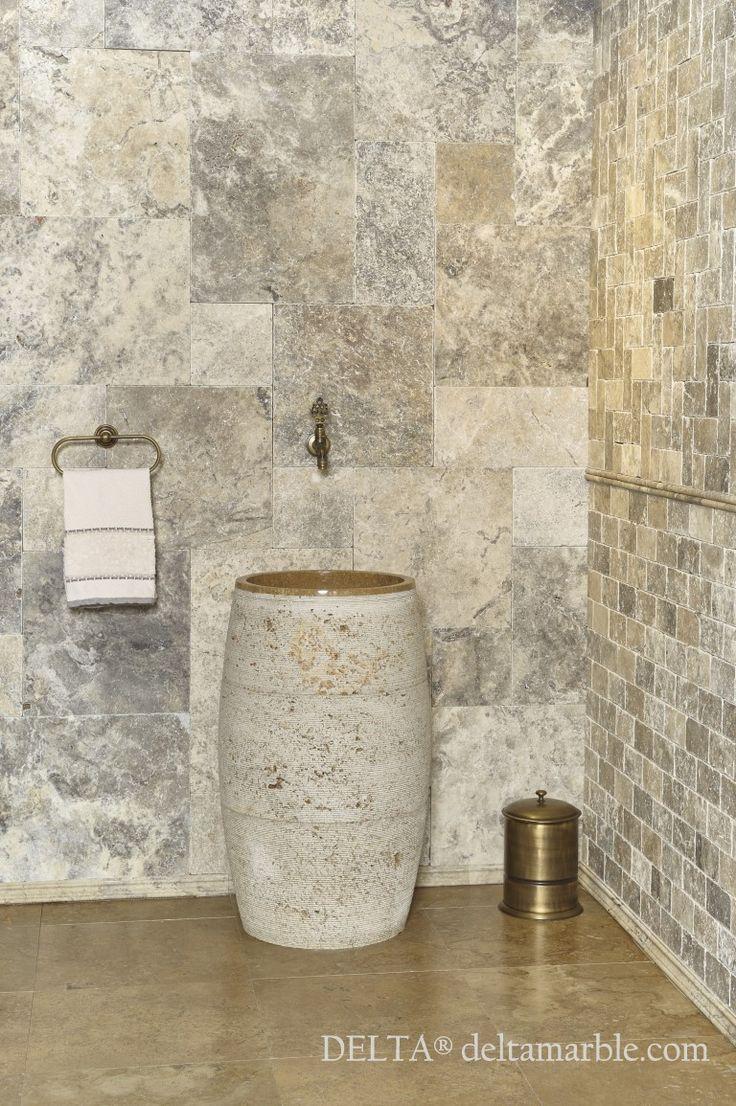 Silver travertine French pattern set tumbled bathroom design