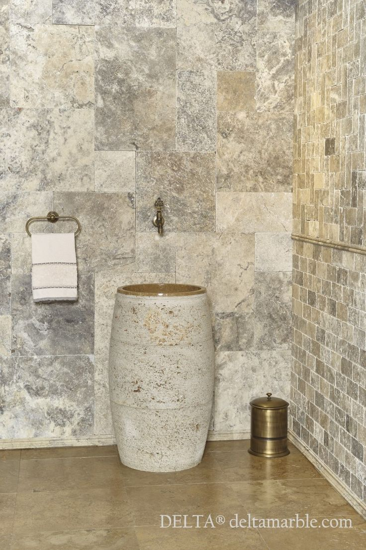 Silver travertine french pattern set tumbled bathroom for Travertine tile designs