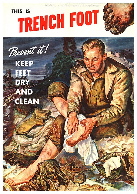 1944.  From what I have heard from vets, this was almost impossible to do -- trudging through mud and water for days on end with little rest and unable to change boots made trench foot inevitable.
