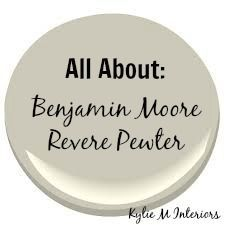 Learn ALL about the gray paint color Benjamin Moore Revere Pewter. A review about undertones, best white paint to coordinate, decorating ideas and more