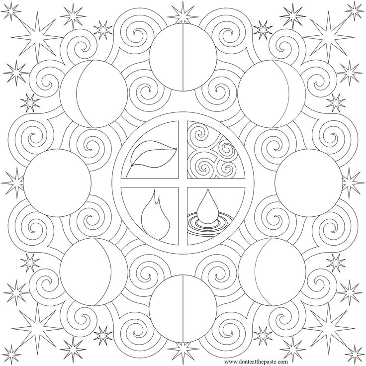 Moon Phases Picture Mandala , Moon Mandala coloring Pages, Pattern Mandala, Free Printable Mandala Coloring Pages, Flower Mandala Black and White Template, lineart, mandala, printables, cool teen craft