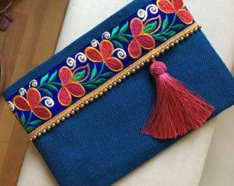 Embroided bag clutch purse womens bag bohemian by BOHOCHICBYDAMLA