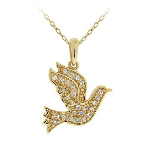 "18k Gold Plated Sterling Silver Cubic Zirconia Dove Pendant Necklace, 18"" Amazon Curated Collection. $24.00. Made in Thailand. Save 76%!"