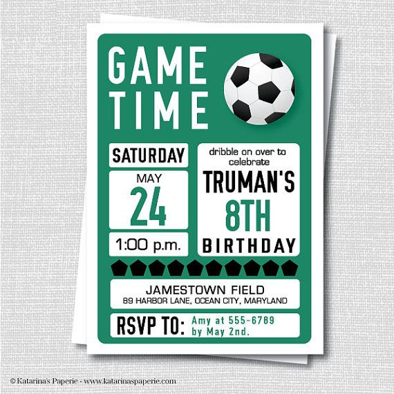 Custom Soccer Birthday Invitation - Soccer Themed Party - Boy Birthday -