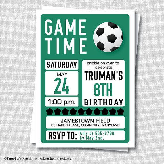 Custom Soccer Birthday Invitation - Soccer Themed Party - Boy Birthday -