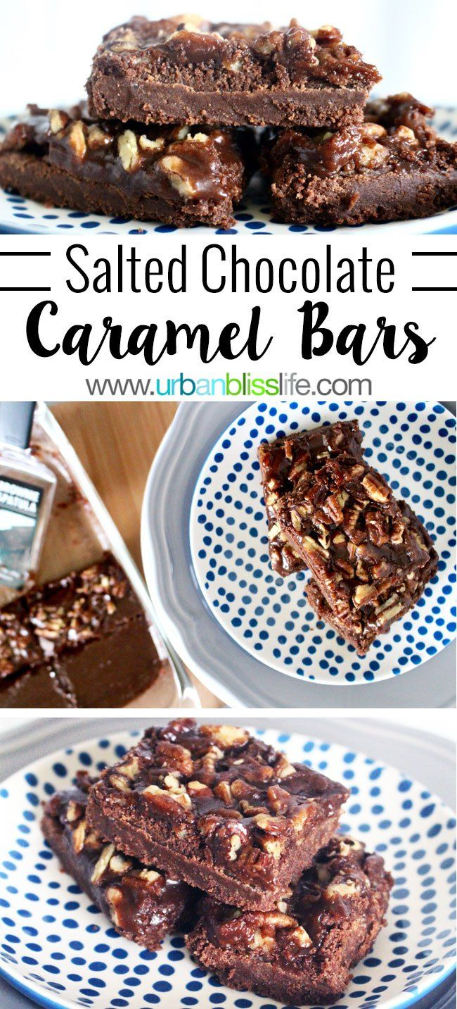 salted chocolate caramel bars have a delicious soft crunchy shortbread base with sweet caramel and pecan topping. #OXOGoodCookies, recipe on UrbanBlissLife.com