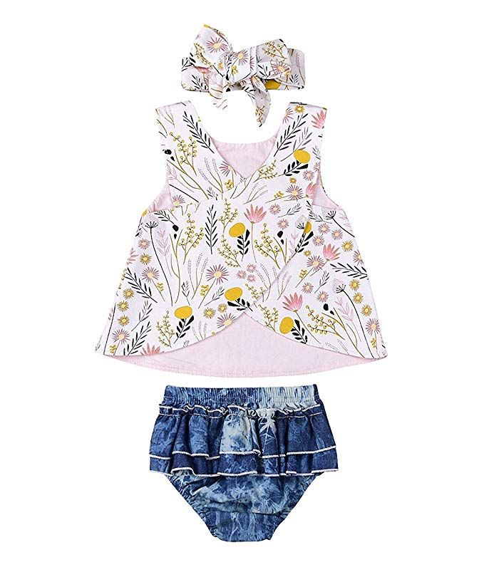 a94454687555 Newborn Baby Girl Outfit Wildflowers Cross Vest Ruffled Leaf Short ...