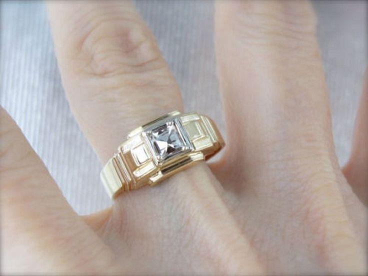 Elegant 0.37 Ct Princess Cut 14k Solid D/VVS1 Yellow Gold Wedding Men Ring #Goldjewellery17