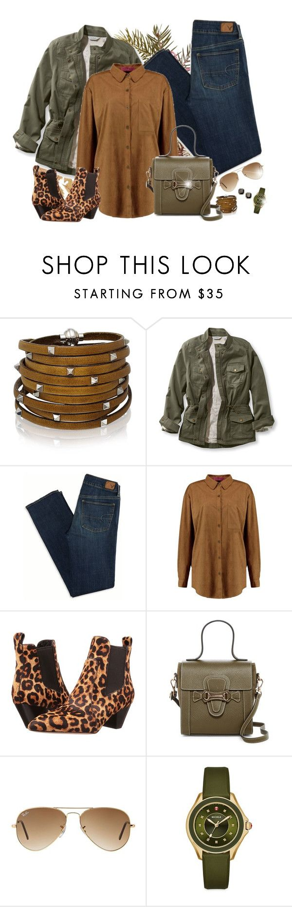 """""""Casual outfit"""" by asia-12 ❤ liked on Polyvore featuring Sif Jakobs Jewellery, L.L.Bean, American Eagle Outfitters, Boohoo, Marc Jacobs, Mario Valentino, Ray-Ban, Michele, Kate Spade and plus size clothing"""