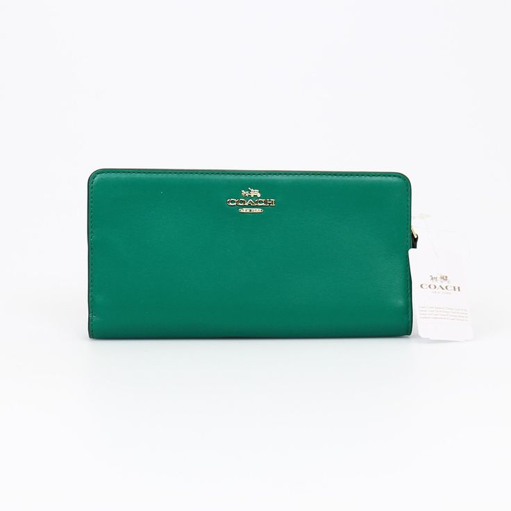 Coach Madison Skinny Wallet in Green Leather