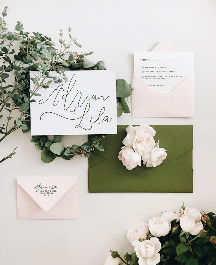 Blush and wild olive stationery designed by the @story_of_us for Adrian Lilas big day! Their #dreamy wedding invite flatlay game is #onpoint! Check out more pretty #weddinginspo @story_of_us by modernweddingmagazine