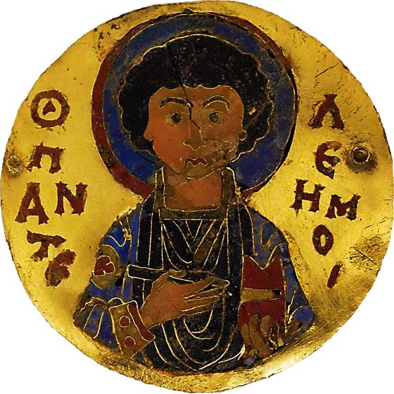 Oops forgot to erase thatbrown color but that hair texture is too obvious huh?:Cloisonné enamel medallion of Saint Pantaleon Middle Byzantine Late 11th or early 12th century…