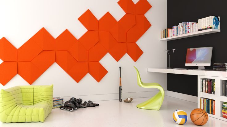 Pokój dla dziecka. Pokój młodzieżowy. Pracownia. Pokój do pracy. Gabinet. Biuro. Kolekcja Fluffo LINK. design, architektura wnętrz, interior design, panele ścienne, panele 3d, panele ścienne 3d, ściana 3d, dekoracje ścienne, ozdoby ścienne, pomysł na ścianę, aranżacja ściany, miękkie panele ścienne 3d, Fluffo, Fabryka Miękkich Ścian