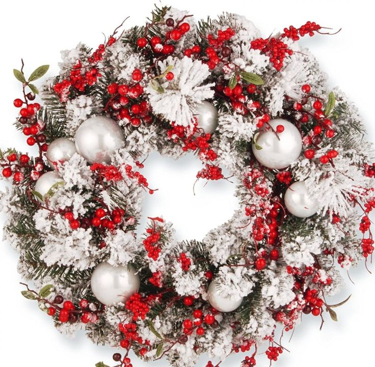 Wreath with Red and White Ornaments