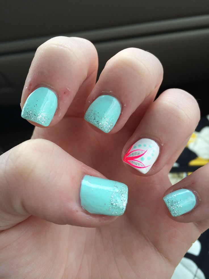 Turquoise acrylic nails with hot pink and