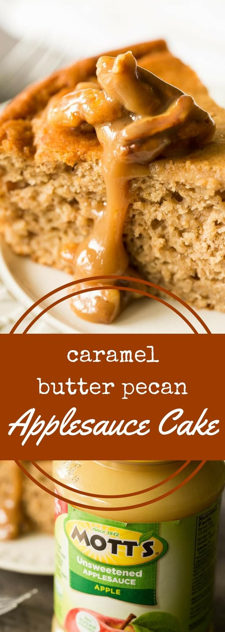 Caramel butter pecan applesauce cake sponsored by @Motts - This spiced applesauce cake topped with gooey caramel butter pecan sauce is a must-have for fall and winter. It's delicious and completely gluten free.