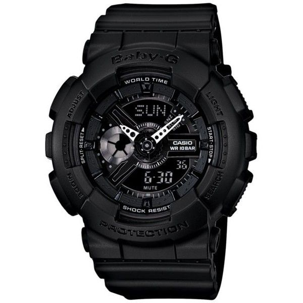 G-Shock Black Black With Pink Accents Baby-G Watch (€110) ❤ liked on Polyvore featuring jewelry, watches, black, g-shock, metallic jewelry, g shock wrist watch, black wrist watch и black jewelry