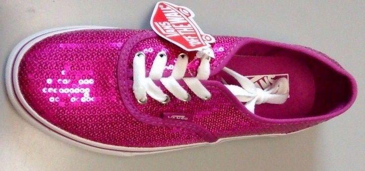 $45| New Vans Authentic Sequins Shoe Pink/True White Girl's SZ 2.5 #VANS #AthleticSKATE | free shipping