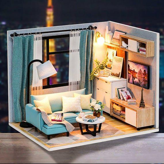 Dollhouse Miniature With Furniture Diy Dollhouse Kit 1 24 Etsy In 2020 Diy Dollhouse Diy Barbie House Dollhouse Miniatures Diy