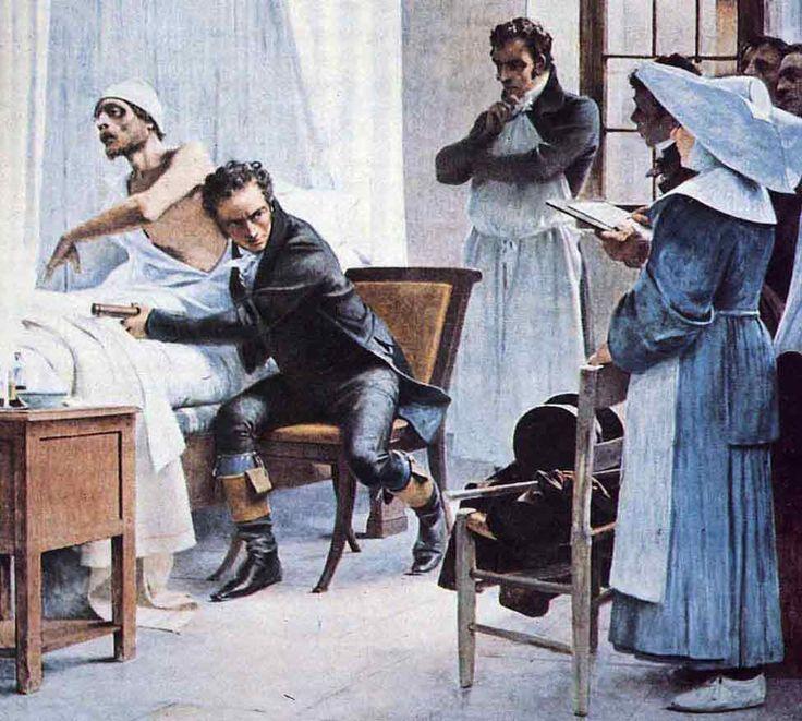 """Laennec en el hospital Necker ausculta a un tísico en 1816 (""""Laënnec, a l'Hopital Necker, ausculte un phtisique, 1816""""). Théobald Chartran. 1889. Localización: Salle Péristyle de la Sorbona (Paris). https://painthealth.wordpress.com/2016/01/18/laennec-en-el-hospital-necker-ausculta-a-un-tisico-en-1816/"""