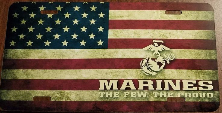 USMC Custom License Plate US Marines Corps Emblem The Few / USA Flag Version  #FASTSERVICEDESIGNS