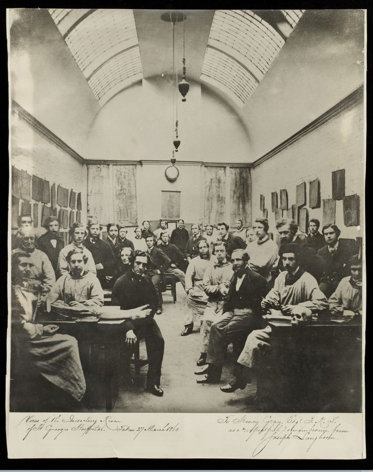This image, taken on the late morning of the 27th March 1870 by Joseph Langhorn shows Henry Gray and other medical students in the dissection room at Kinnerton Strret, belonging to St George's Medical School.