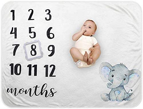 Monthly Photography Background Prop for Newborn Boy or Girl Baby Shower Gift Organic Milestone Blanket