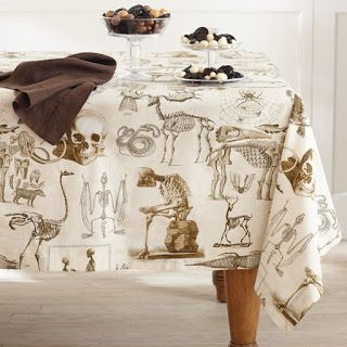 Halloween Skellie Toile Tablecloth ~ From Williams Sonoma 2013 Catalog ~  Print Also In Matching