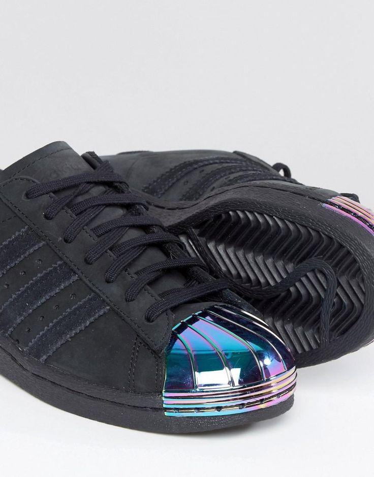 Adidas   adidas Originals Black Superstar Trainers With Holographic Metal Toe Cap at ASOS