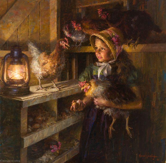 """Chicken Girl"" -- by Morgan Weistling (1964-- American)"