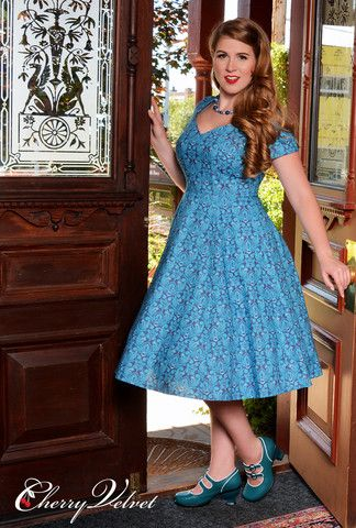 This unique print in dusky blue and teal shades has fooled many. It looks like damask on first glance, but if you look closer you can make out the shapes of owls cleverly interspersed throughout. Sabrina Dress - Teal Owls | Cherry Velvet | Vintage Inspired Dresses made in Canada #cherryvelvet #plusfashion #dresses #plussizepinup #pinup #retro #vintage #plus #pinupgirl