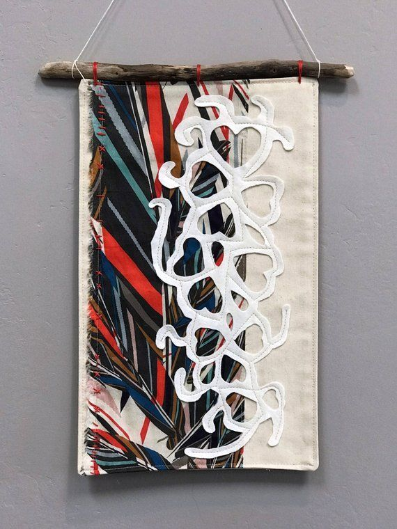 This Modern Wall Hanging Is A Unique Art Quilt By Me A Fabric Wall Hanging Is Wonderful To Lend Color Softnes Fabric Wall Hanging Boho Tapestry Modern Fabric