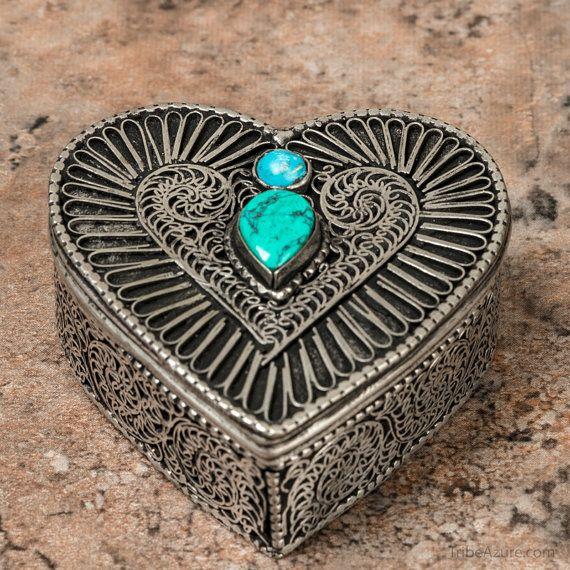 Small Jewelry Box Trinket Box Turquoise Box by TribeAzureFairTrade