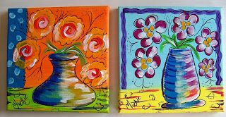 A Pretty Talent Blog: Painting Naive Flowers On A Background Using Secondary Colours