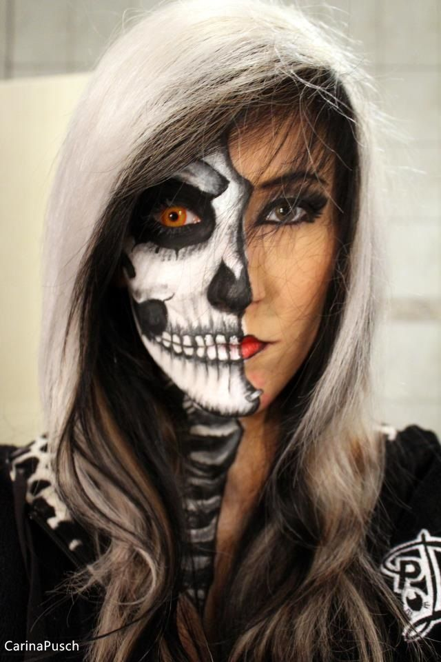 The 25+ Best Ideas About Half Skeleton Makeup On Pinterest | Half Skull Makeup Half Face ...