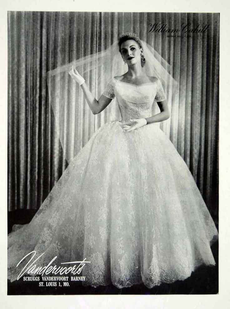 1956 Ad Vintage William Cahill Wedding Dress Gown Bride