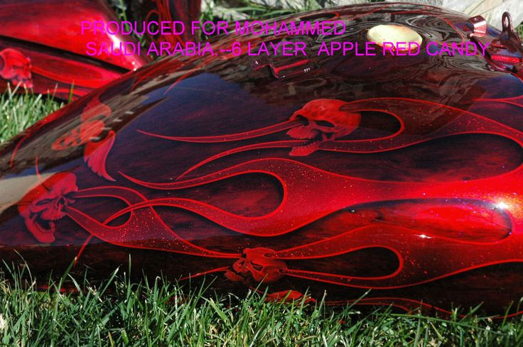 Custom airbrush painted motorcycle flames by Bad Ass Paint