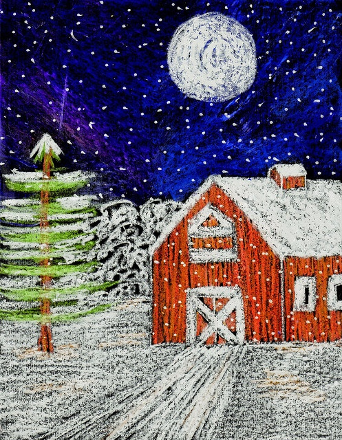 Snow Barn by traqair57, via Flickr - sweet winter scene