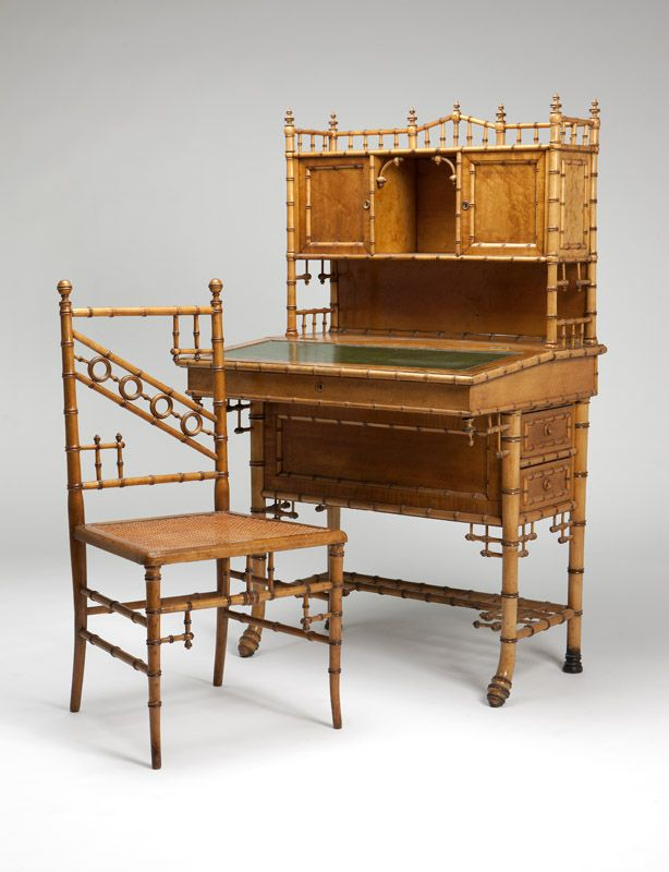 bamboo company furniture. american maple faux bamboo desk u0026 chair late 19th century unsigned attributed to company furniture r