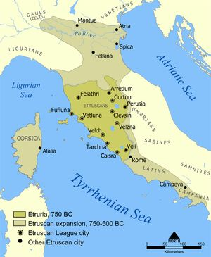 Etruria (/ɪˈtrʊəriə/; usually referred to in Greek and Latin source texts as Tyrrhenia Greek: Τυρρηνία) was a region of Central Italy, located in an area that covered part of what are now Tuscany, Lazio, and Umbria. The ancient people of Etruria are labelled Etruscans, and their complex culture was centered on numerous city-states that rose during the Villanovan period in the ninth century BC and were very powerful during the Orientalizing Archaic periods.