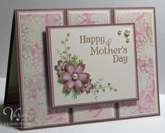 handmade card ... Mother's day in pink by Michelle Woerner...luv the Basic Grey designer paper ... sweet and delightful ... Verve ...