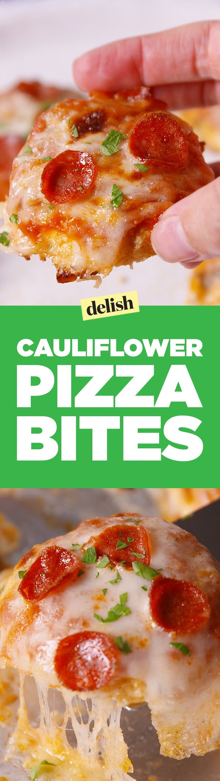 Cauliflower Pizza Bites will totally trick your kids into eating their vegetables. Get the recipe on Delish.com.