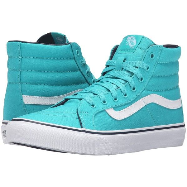 Vans SK8-Hi Slim (Ceramic/Parisian Night) Skate Shoes ($48) ❤ liked on Polyvore featuring shoes, sneakers, blue, blue skate shoes, vans footwear, skate shoes high tops, vans high tops and vans sneakers