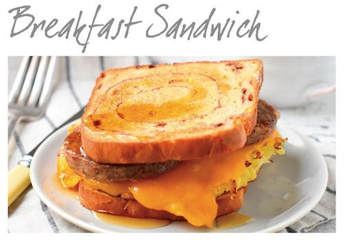 This cinnamon bread #breakfast sandwich recipe is so delicious & easy you may wonder why you never thought of it. Eggs & hash brown potatoes, covered with melted cheese & topped with slices of hot sausage, sandwiched between hot toasted, straight from the oven cinnamon bread. Drizzle with maple syrup! Bam!