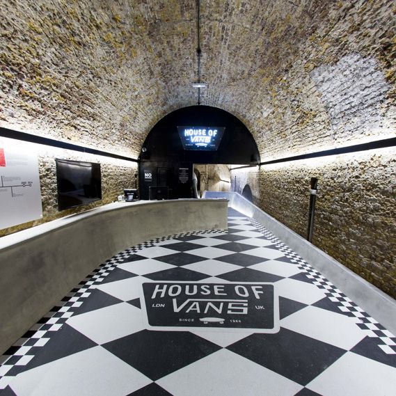 Skate wear brand Vans has opened a new skate park, art gallery, music venue and community space in London's Old Vic tunnels