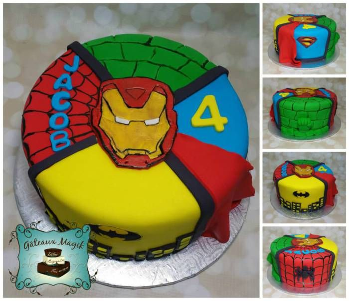 Photos ENFANTS | Gâteaux Magik superheros cake, iron man hulk batman spiderman superman cake, gateau super heros